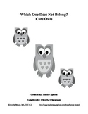 Which One Does Not Belong? Cute Owls GRAYSCALE
