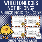 Addition Math Facts- Which One Does Not Belong Scoot Game/Task Cards