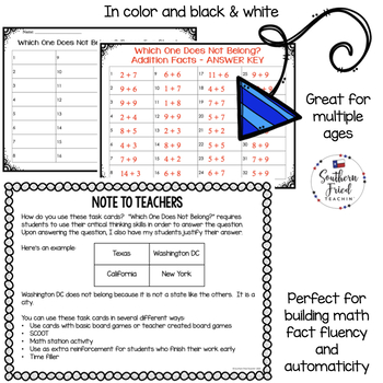 Addition Math Facts - Task Cards with Imbedded Critical Thinking