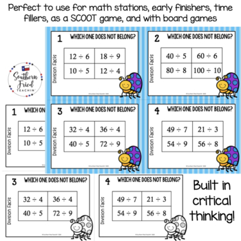Division Math Facts- Which One Does Not Belong Scoot Game/Task Cards