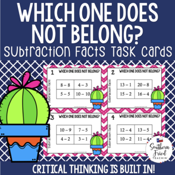 Subtraction Math Facts - Task Cards with Imbedded Critical Thinking