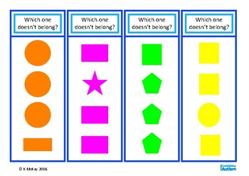 Autism, Which One Doesn't Belong? Task Cards, Special Ed, Speech Therapy