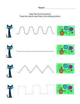 Help Pete the Cat find his Buttons: Line Tracing