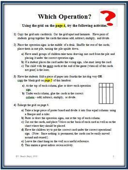 Which Operation?  Preparation Activities for Solving Math Word Problems