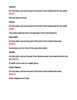 Which Plant Part Do We Eat?