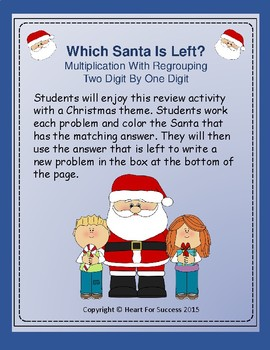 Which Santa Is Left? Multiplication With Regrouping: Two Digit By One Digit
