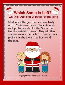 Which Santa Is Left? Two Digit Addition Without Regrouping