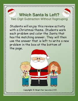 Which Santa Is Left? Two Digit Subtraction Without Regrouping