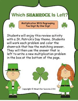 Which Shamrock Is Left?  Multiplication With Regrouping: Two Digit By One Digit