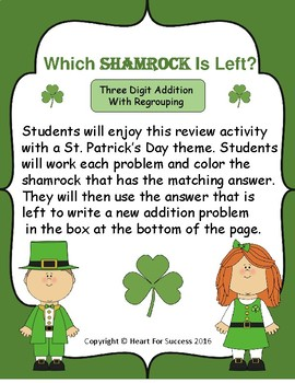 Which Shamrock Is Left?  Three Digit Addition With Regrouping