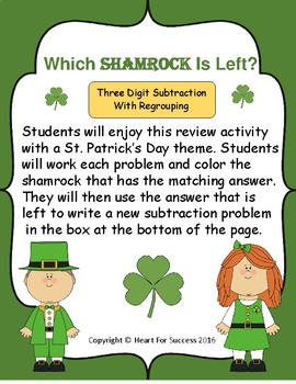 Which Shamrock Is Left?  Three Digit Subtraction With Regrouping