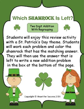 Which Shamrock Is Left?  Two Digit Addition With Regrouping