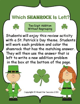 Which Shamrock Is Left?  Two Digit Addition Without Regrouping