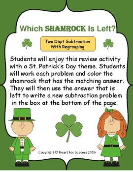 Which Shamrock Is Left?  Two Digit Subtraction With Regrouping
