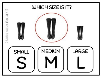 Which Size Is It? Life Skills Task Clip Cards Real Images Special Education
