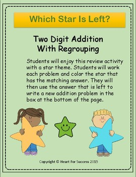 Which Star Is Left?  Two-Digit Addition With Regrouping