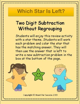 Which Star Is Left? Two Digit Subtraction Without Regrouping