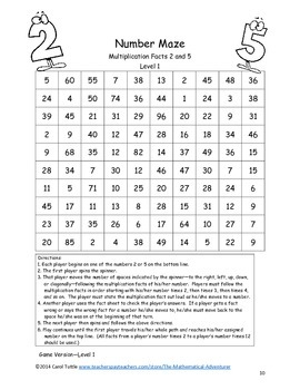Which Way Should I Go?  Multiplication Fact Game Sample