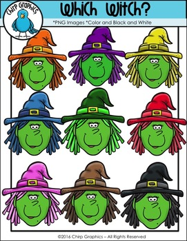 Which Witch Clip Art Set - Chirp Graphics