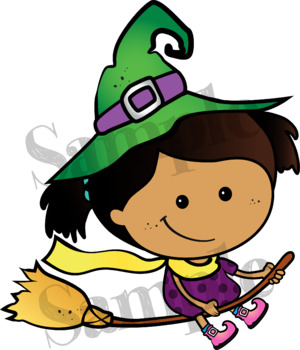 Which Witch?! Clipart. BLACK AND WHITE & Color Bundle. {Lilly Silly Billy}