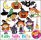 Which Witch?! Clipart. BLACK AND WHITE & Color Bundle. {Li