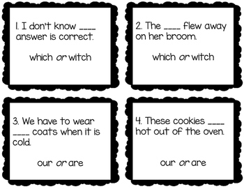Commonly Misused Words Task Cards