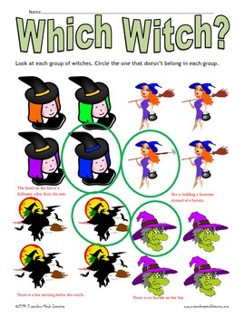 Which Witch? Halloween Logic Worksheet