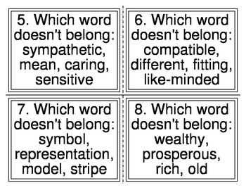Which Word Doesn't Belong Task Cards