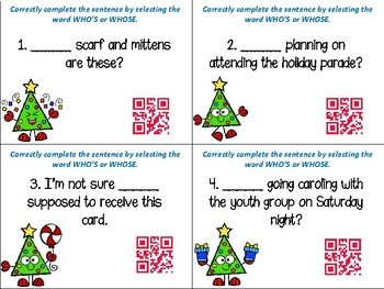 Which Word: Who's or Whose? Task Cards with QR Codes