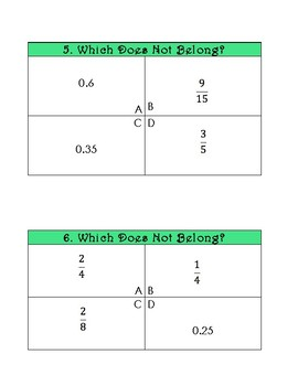 Which does not belong? - Fraction/Decimal Equivalence