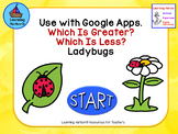 Which is Greater? Which is Less? Ladybug theme. Use with Google Apps