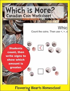 Which is More? Canadian Coin Worksheet