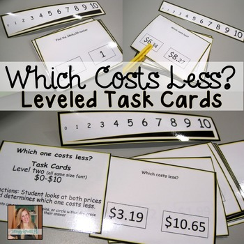 Which is Smaller / Costs Less? Math Task Cards for Special Ed