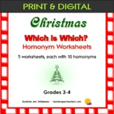 Which is Which? - Christmas-theme Worksheets - Homonyms/Sound-Alike - Grades 3-4
