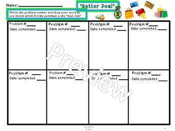 Christmas  Shopping Problem Solving (Percent and Basic Operations) Task Cards-