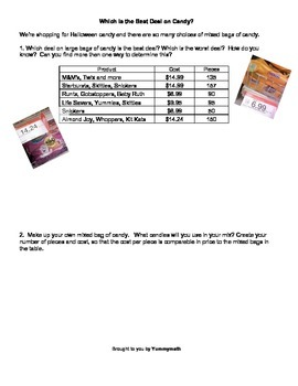 Which is the Best Deal on Holiday Candy? Unit Rates, Ratios & Decimals