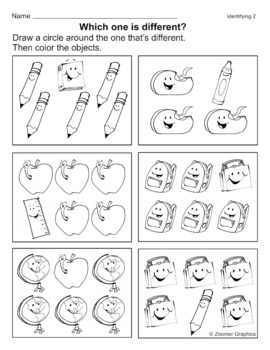 Which one is Different? Visual Discrimination Activity Sheets