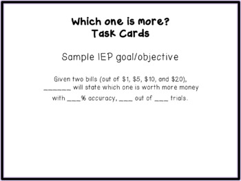Which one is worth more? Money Math Task Cards (Special Education)