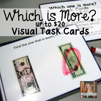 Which one is worth more? Money Math Task Cards (Special Ed