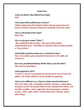Whigs Political Party Webquest (With Answer Key!)