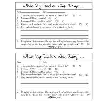 While My Teacher Was Out - Teacher Forms