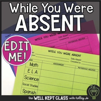 While You Were Absent Editable Form *FREEBIE*