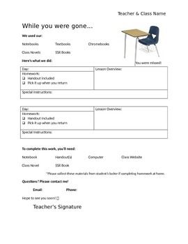 """""""While You Were Gone"""" Homework Request Form"""