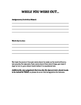 While You Were Out Absent Work Cover Sheet - Freebie!