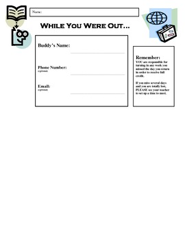 While You Were Out:  Buddy Sheets for Absent Students