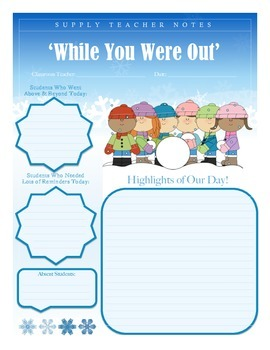 'While You Were Out' - Feedback Form for Substitute Teachers