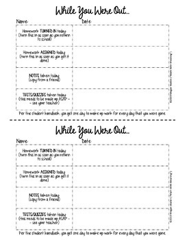 Absent Student Form - Fully Editable
