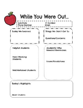 While You Were Out -Substitute Teacher Form