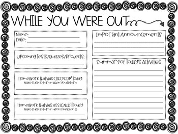 "FREEBIE ""Were You Absent???"" and ""While You Were Out""...Sign and Form"
