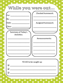 While you were out - Absent student - back to school classroom organization form